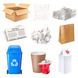 Trash And Waste Set. With cardboard and paper realistic isolated vector illustration stock illustration