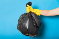 Trash, waste, trash recycle plastic bag in hand stock photo