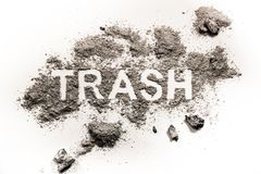 Trash word drawing made in dirt, filth or dust Royalty Free Stock Photography