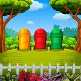 Trashbin colorfull с видом на сад иллюстрация вектора