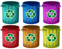 Trashbins with recycle signs Stock Photos