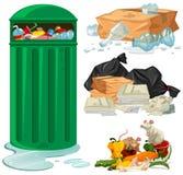 Trashcan και διαφορετικοί τύποι απορριμμάτων διανυσματική απεικόνιση