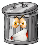 Trashcan with angry face Stock Photos