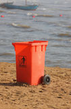 Trashcan in the beach Royalty Free Stock Image