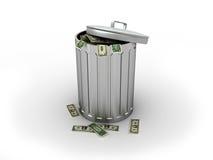 Trashcan com dólares Fotografia de Stock