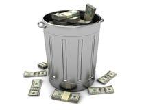 Trashcan con el dinero Fotos de archivo
