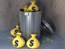 Trashcan con soldi Immagini Stock Libere da Diritti