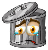 Trashcan with crying face Stock Photo