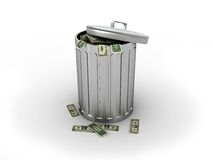 Trashcan with dollars Stock Photography