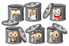 Trashcan with facial expressions Royalty Free Stock Image