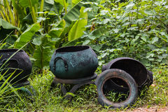 trashcan in forest Royalty Free Stock Image