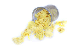 Trashcan full of crumpled paper Stock Photography