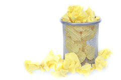 Trashcan full of crumpled paper Royalty Free Stock Images