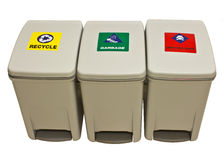 Trashcan. Garbage, recycle, infect waste bins. white background Stock Image