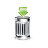 Trashcan with green arrow isolated on white Royalty Free Stock Images