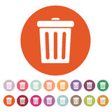The trashcan icon. Dustbin symbol. Flat Stock Images