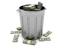 Trashcan with money Stock Photos