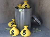 Trashcan with money. 3d illustration of trashcan with dollars and money bags Royalty Free Stock Images