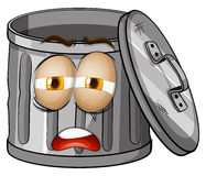 Trashcan with sad face Stock Images