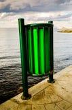 Trashcan On Seashore Sidewalk Stock Photos