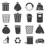 Trashcan symbolsuppsättning Fotografering för Bildbyråer