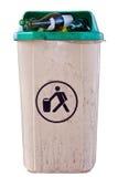 Trashcan urbano completamente dos frascos Imagem de Stock Royalty Free