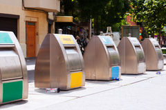 Trashcans  at city street Stock Images
