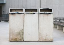 Three Trash Cans for Garbage Separation royalty free stock photography