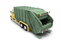 Trashcar isolated back view Royalty Free Stock Images