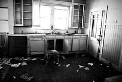 Trashed. Kitchen inside an old house about one hundred years old that has been abandoned and trashed Stock Photo