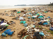 Trashed beach. Spontaneous garbage dump on a beach in Vietnam Royalty Free Stock Image