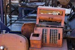 Trashed Broken Rusty Cash Register. Vintage Retro Trashed Cash Register With Rusty In Salvage Yard Royalty Free Stock Photography