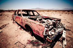 Trashed car. Old trashed rusty car at route 66 Stock Image