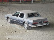 Trashed Car. A dirty, vandalized car Stock Images
