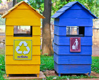 The trashes. Colorful trush in the garden Stock Photos