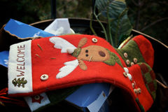 Trashing christmas. Christmas stockings thrown away in the trash Stock Images