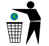Trashing our Earth. Illustration with the silhouette of a man trashing our planet on a basket Royalty Free Stock Photography