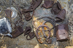Trashy junkpile in desert Royalty Free Stock Image