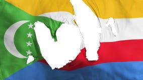 Trasig Comoros flagga royaltyfri illustrationer