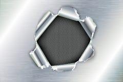Trasigt hål i metallen Arkivbilder