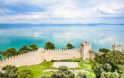 Trasimeno湖全景, Castiglione del lago,翁布里亚,意大利 免版税库存图片