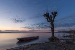 Trasimeno湖翁布里亚美丽的景色黄昏的,与在光秃的树、完全仍然水和a附近的一条小的小船 库存照片