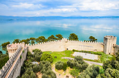 Trasimeno lake panorama ,Castiglione del lago,Umbria, Italy. Stock Photo