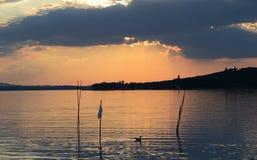 Trasimeno sjölandskap royaltyfri foto