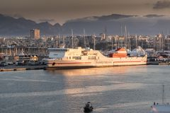 Trasmediteranea ferry Forza  at sunrise in Palma. Harbour from Queen Elizabeth Royalty Free Stock Photo