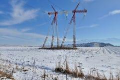 Trasmissione di energia elettrica - palo di potere Fotografie Stock Libere da Diritti