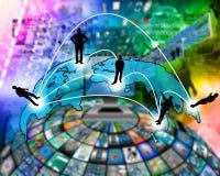 Trasmissione transcontinentale dei dati Immagine Stock Libera da Diritti