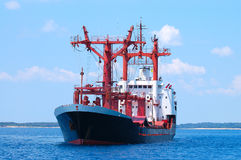 Trasnportation ship. Transportation ship at sea preparing to enter port Stock Photos