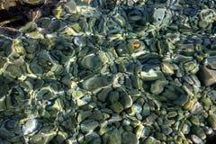 Trasparent-Meerwasser u. Steine lizenzfreies stockbild