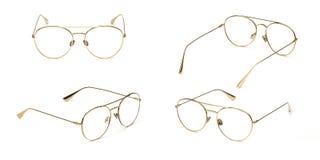 Trasparente materiale di stile di affari di vetro del metallo stabilito dell'oro isolato su fondo bianco Vetri dell'occhio dell'u fotografie stock